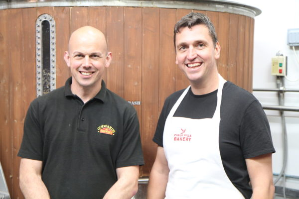 Crumbs Brewer Morgan with our Head Brewer Nigel